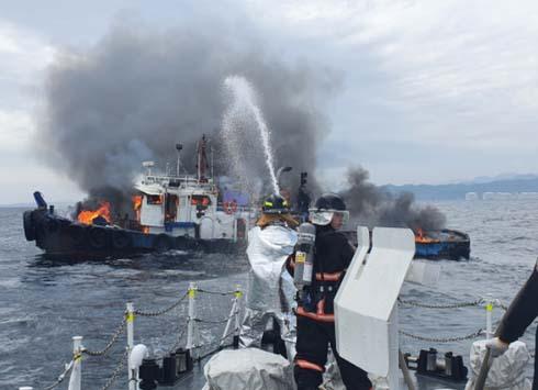 동해해경, 삼척 임원 해상 화재선박 발생...인명피해 없어